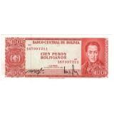 Банкнота 100 песо, 1962 год, Боливия.