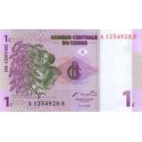 Банкнота 1 сантим. 1997 год, Конго.
