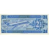 Банкнота 2,5 гульдена. 1970 год, Нидерландские Антильские острова.