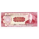 Банкнота 10 гуарани. 1952 год, Парагвай.