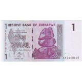 Банкнота 1 доллар. 2007 год, Зимбабве.
