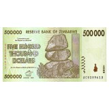 Банкнота 500 тысяч долларов. 2008 год, Зимбабве.