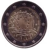 30 лет Флагу Европы. Монета 2 евро. 2015 год, Литва.