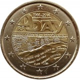 70 лет высадке в Нормандии (D-Day). Монета 2 евро. 2014 год, Франция.