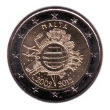 10 лет введения наличных евро. Монета 2 евро, 2012 год, Мальта.
