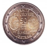 50-летие франко-германского договора о дружбе и сотрудничестве (Елисейский договор). Монета 2 евро, 2013 год, Германия.