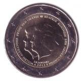 Объявление королевы Беатрикс о смене трона принцем Виллемом-Александром. 2 евро, 2013 год, Нидерланды.