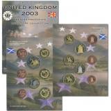 Набор пробных евро Великобритании 2003 года в буклете