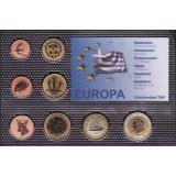 Набор пробных евро Греции 2001 года в блистере