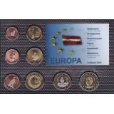 Набор пробных евро Латвии 2014 года в блистере
