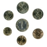 Набор монет Болгарии (7 штук). 1, 2, 5, 10, 20, 50 стотинок, 1 лев, 1999-2002 гг., Болгария.