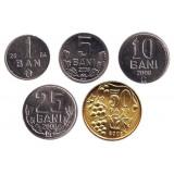 Набор монет Молдавии (5 штук). 1-50 бани, 2004-08 гг.