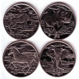 """Набор монет (4 шт.) """"Животные: зебра, носорог, гепард, слон"""". 1 доллар, 2007 год, Сьерра-Леоне."""