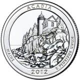 Национальный парк Акадия. Монета 25 центов (D). 2012 год, США.