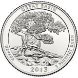 Национальный парк Грейт-Бейсин. Монета 25 центов (D). 2013 год, США.