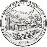 Национальный парк Грейт-Смоки-Маунтэйнс. Монета 25 центов (D). 2014 год, США.