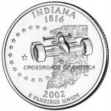 Индиана. Монета 25 центов (D). 2002 год, США.