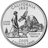 Калифорния. Монета 25 центов (D). 2005 год, США.
