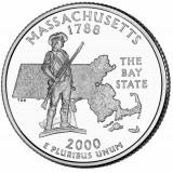 Массачусетс. Монета 25 центов (D). 2000 год, США.