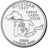 Мичиган. Монета 25 центов (D). 2004 год, США.