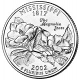 Миссисипи. Монета 25 центов (D). 2002 год, США.