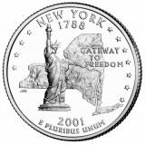 Нью-Йорк. Монета 25 центов (D). 2001 год, США.