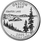 Орегон. Монета 25 центов (D). 2005 год, США.