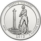 Монумент в честь победы адмирала Перри и миру между народами. Монета 25 центов (D). 2013 год, США.