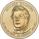 13-й президент США. Миллард Филлмор. Монетный двор D. 1 доллар, 2010 год, США.