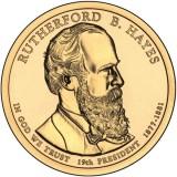 19-й президент США. Резерфорд Б. Хейз. Монетный двор D. 1 доллар, 2011 год, США.