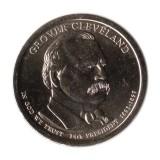 24-й президент США. Гровер Кливленд. Монетный двор D. 1 доллар, 2012 год, США.
