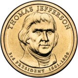 3-й президент США. Томас Джефферсон. Монетный двор D. 1 доллар, 2007 год, США.
