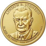 36-й президент США. Линдон Джонсон. Монетный двор D. 1 доллар, 2015 год, США.
