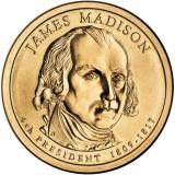 4-й президент США. Джеймс Мэдисон. Монетный двор D. 1 доллар, 2007 год, США.