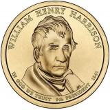 9-й президент США. Уильям Гаррисон. Монетный двор D. 1 доллар, 2009 год, США.