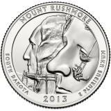 Национальный мемориал Маунт-Рашмор. Монета 25 центов (D). 2013 год, США.