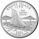 Род-Айленд. Монета 25 центов (D). 2001 год, США.