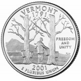 Вермонт. Монета 25 центов (D). 2001 год, США.