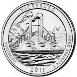 Национальный парк Виксбург. Монета 25 центов (D). 2011 год, США.