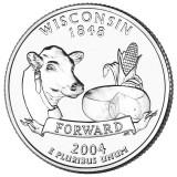 Висконсин. Монета 25 центов (D). 2004 год, США.