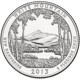 Национальный лес Белой горы. Монета 25 центов (D). 2013 год, США.