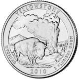 Йеллоустонский национальный парк. Монета 25 центов (D). 2010 год, США.
