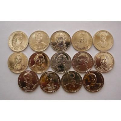Императоры Российской Империи набор из 14 жетонов СПМД