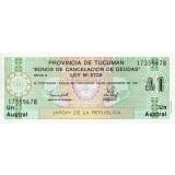 Банкнота 1 аустраль. 1991 год, провинция Тукуман, Аргентина.