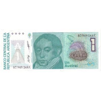 Банкнота 1 аустраль, 1985-90 года, Аргентина.