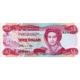Банкнота 3 доллара, 1974 год, Багамские острова.