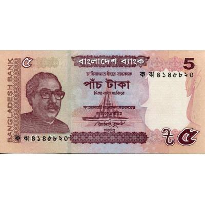Банкнота 5 така. 2011 год, Бангладеш.
