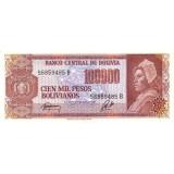 Банкнота 100000 песо, 1984 год, Боливия.