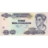 Банкнота 10 боливиано, 1986 год, Боливия.