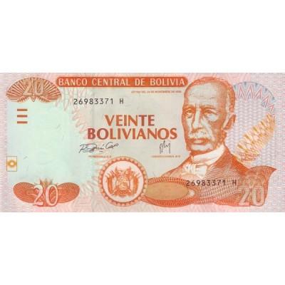 Банкнота 20 боливиано, 1986 год, Боливия.